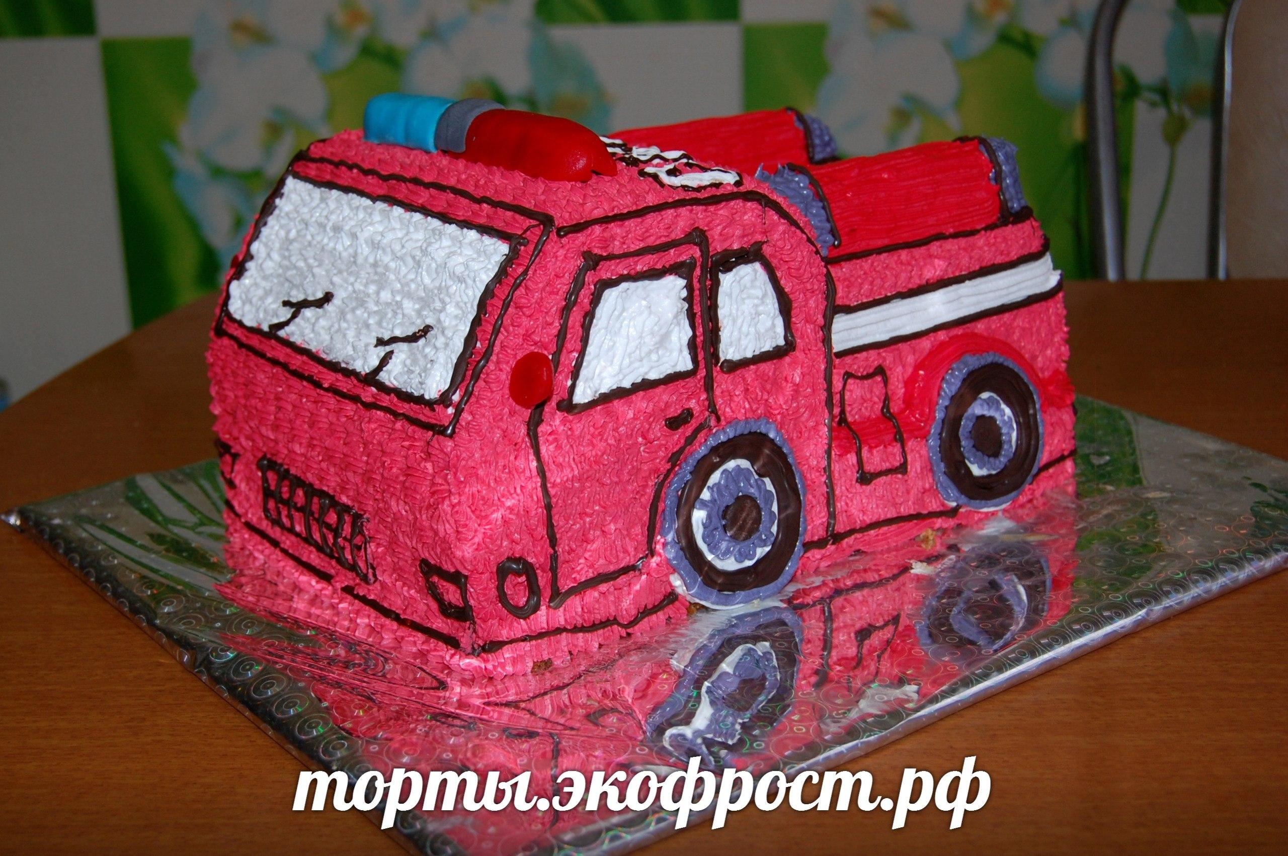 Как сделать пожарную машину на торте 798