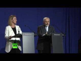 Point presse de Javad Zarif et Federica Mogherini à Lausanne