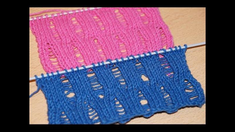 Вязание спицами. Узор со спущенными петлями Knitting for beginners.