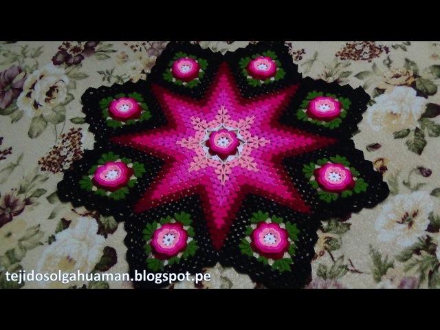 Tapete o Carpeta tejido a crochet de 8 cuadrados con flores paso a paso video 1