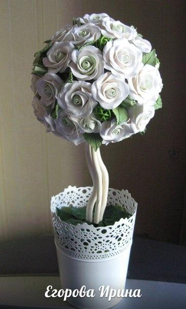 Топиарий 40х17-цветы из полимерной глины… (3 фото) - картинка