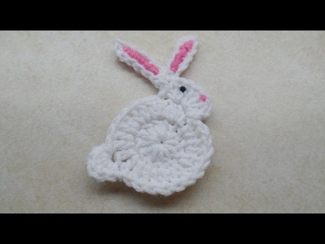 CROCHET How to Crochet Easy Bunny Rabbit Applique Easter TUTORIAL 206 LEARN CROCHET DYI