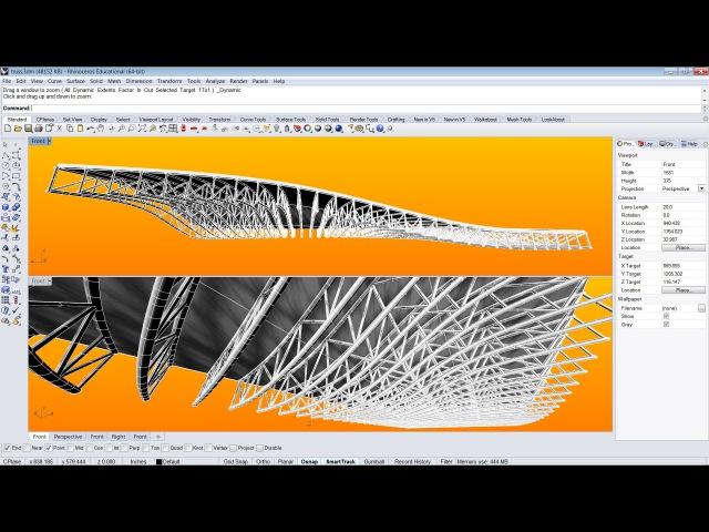 Rhino V5 | Grasshopper, 3D Trusses on a Surface