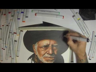 Willie Nelson Copic marker time lapse speed painting (Watch in HD)