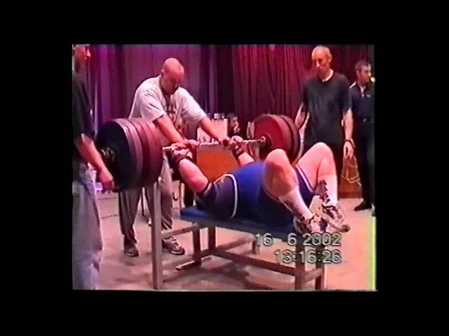 Гусев Олег в/к 125 вес 265 кг ЧРБ по жиму 15 06 2002 г Могилёв
