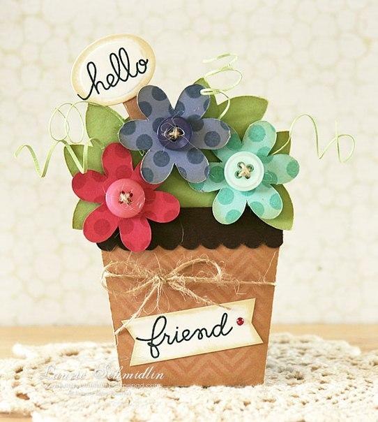Как дела, открытка горшочек с цветами своими руками