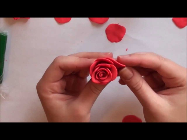 Лепим розу из полимерной глины How to make a rose of polymer