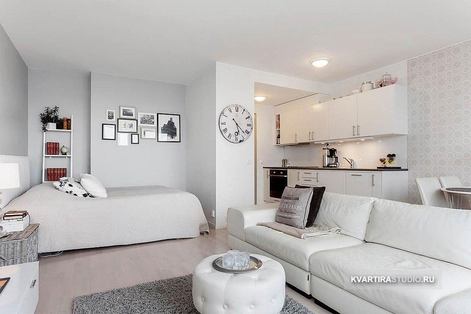 Светлый интерьер квартиры открытого плана 34 м в Стокгольме / Швеция - http://kvartirastudio.