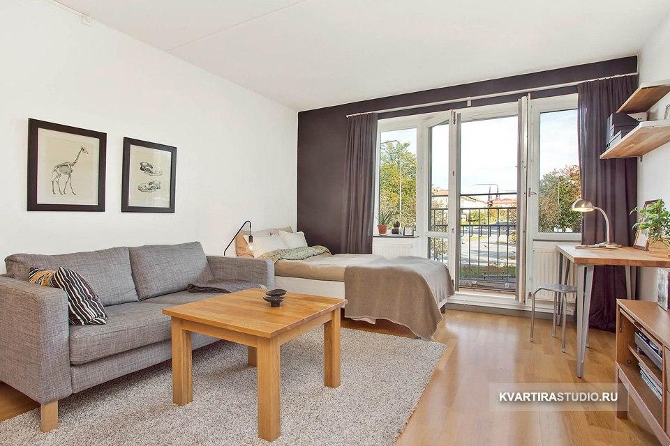 Интерьер прямоугольной квартиры-студии 33 м в Уппсале / Швеция - http://kvartirastudio.