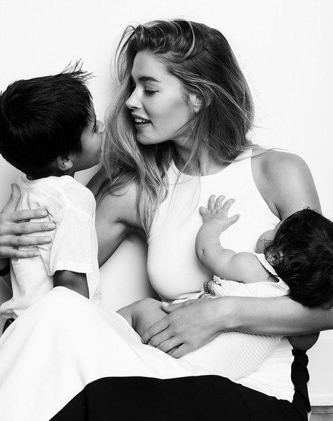 Даутцен Крез вместе с мужем и детьми на страницах Vogue Netherlands March 2015. фотосессия