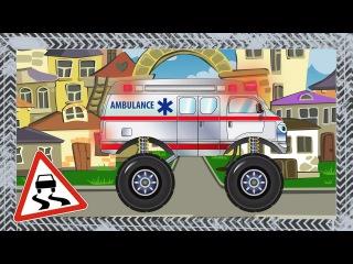 ✔ Мультики про машинки. Скорая помощь и мотоцикл - гонки в городе. Car Cartoon fo kids.