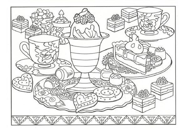 Еда на столе раскраска