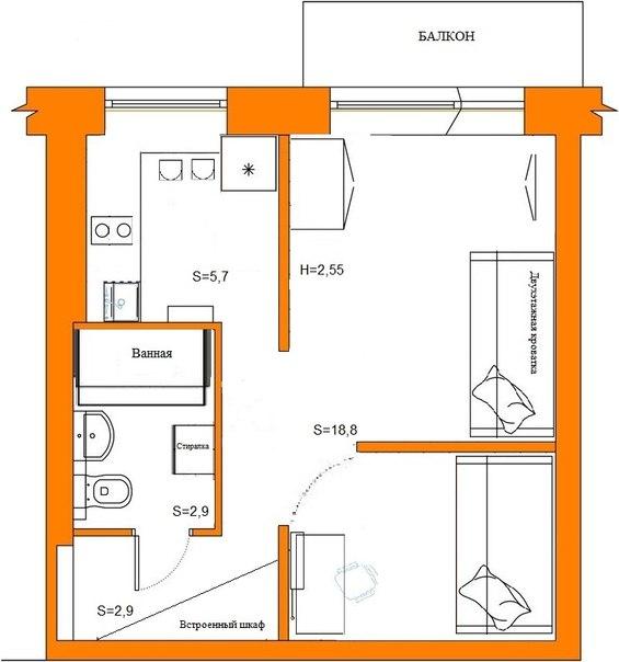 Дизайн 1 комнатной квартиры 30 кв м хрущевка