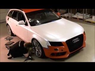 Car wrap - Audi A4 satin pearl white color change