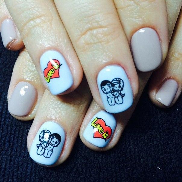 Надпись лав на ногтях