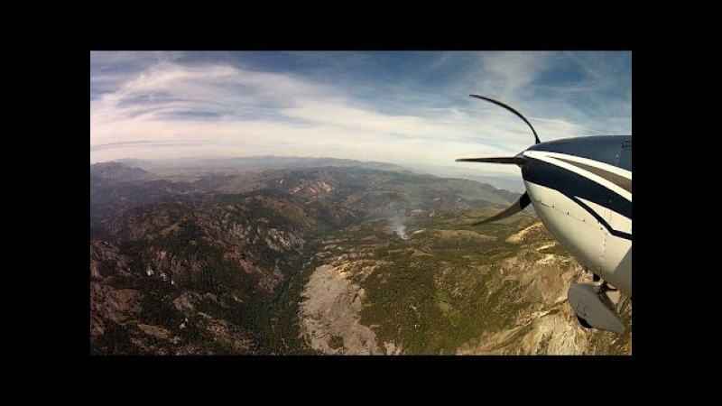 Birth of a HUGE Wild Fire - California Mountain Flying - C182 Skylane - ATC audio