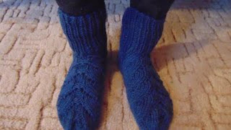 Вязание спицами Носки ажурная коса часть 1