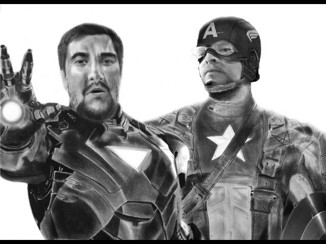 Drawing Capitan America Alexander Hvastovich Iron Man Dmitry AmericaTV