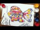 Speed Painting   Fish 2   Technique Monotype   Gouache   IOTN