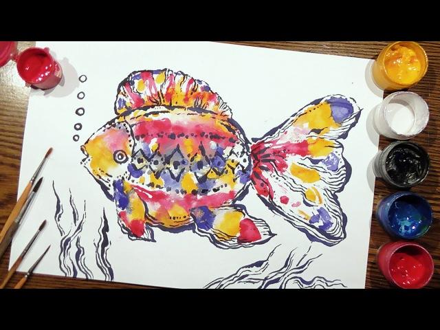 Speed Painting | Fish 2 | Technique Monotype | Gouache | IOTN