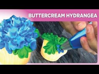 Как украсить капкейки цветами гортензии из крема