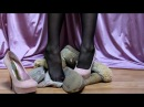 Ugg Boot Crush in Black Pantyhose and Stiletto Platforms