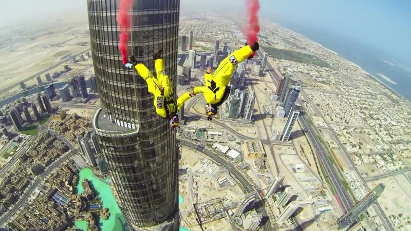 Крутой синхронный бейсджампинг с самого высокого небоскреба в мире, Бурдж-Халифа, Burj Khalifa Base Jump, Дубай