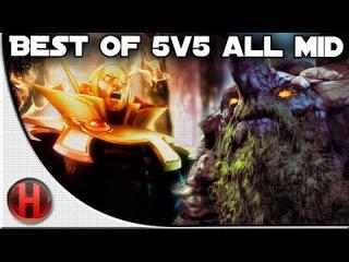 Dota 2 - Best of 5v5 ALL MID   Invoker & Tiny
