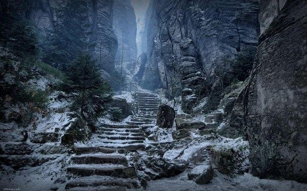 Таинственная лестница в горах, Чехия