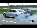 Mercedes-Benz CLS 55 AMG BURNOUT Drag Racing! LOUD Exhaust Sounds!!