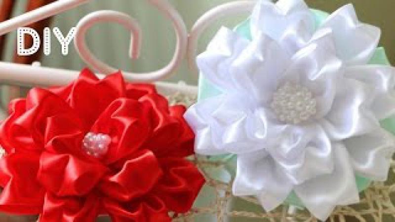 Бант Цветок из ленты. Мастер-класс Tutorial Ribbon Bow-Flower Kanzashi DIY
