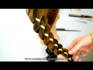 Коса из 4-х прядей (3+1 лента). Техника плетения косы с лентой