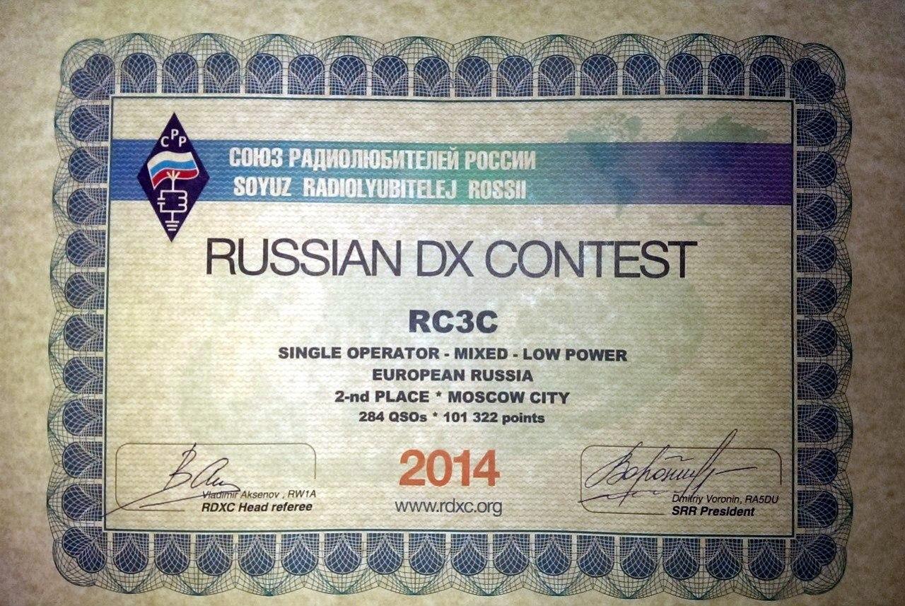 RC3C Russian DX Contest 2014 2-е место в Москве