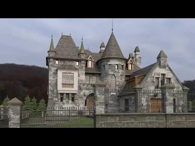 Проект кирпичного особняка в замковом стиле