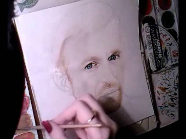 Milena Barshatskaya - watercolor painting of Jay-Jay Johanson part 2
