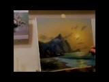 МК Закат на фоне синей горы. В.Коломиец мастер-классы, пленэр в Крыму