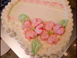 Heart Shaped Birthday Cake with Dogwood Flowers- How to make Piped on Dogwood