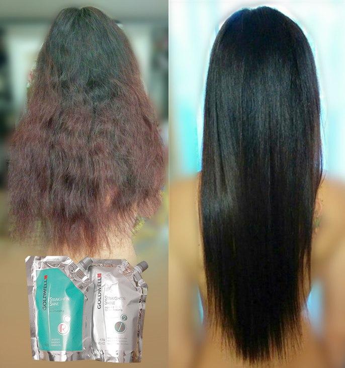 перманентное выпрямление волос от GOLDWELL голдвелл выпрямление волос навсегда Straight & Shine в Севастополе товары из Китая процедура фото результаты