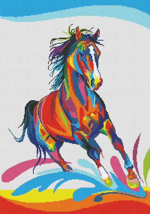 Радужные кони схема вышивки