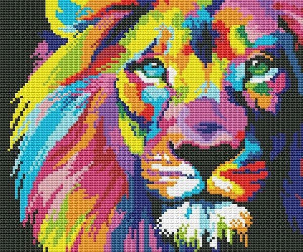 авторские схемы вышивки крестом львы