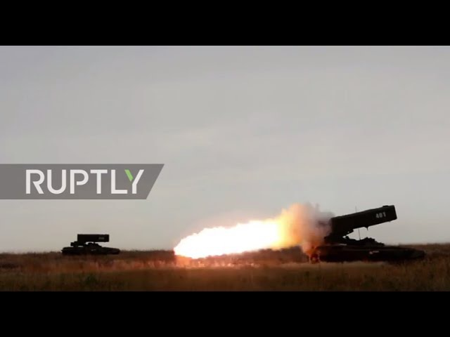Russia TOS 1 A Multiple Launch Rocket System unleashes fearsome barrage