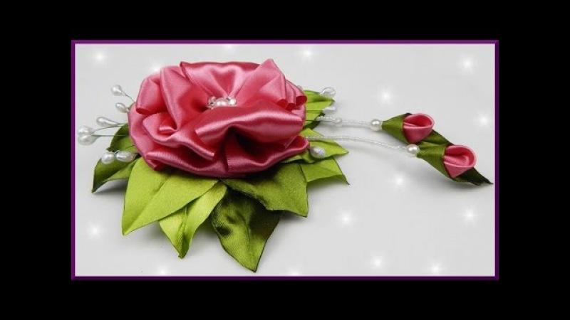 DIY Kanzashi | Blume aus Satinband / Schleifenband basteln | Satin ribbon flower with stamens