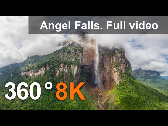 360°, Angel Falls, Venezuela. Aerial 8K video