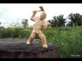 резьба по дереву. скульптура мужик с топором.часть 1 Wood carving