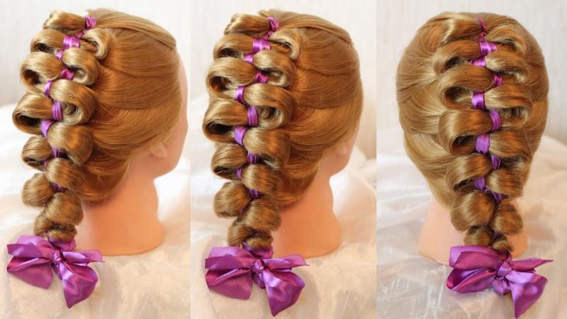 Коса Гармонь с фиолетовой лентой Авторские причёски Hairstyles by REM Copyright ©