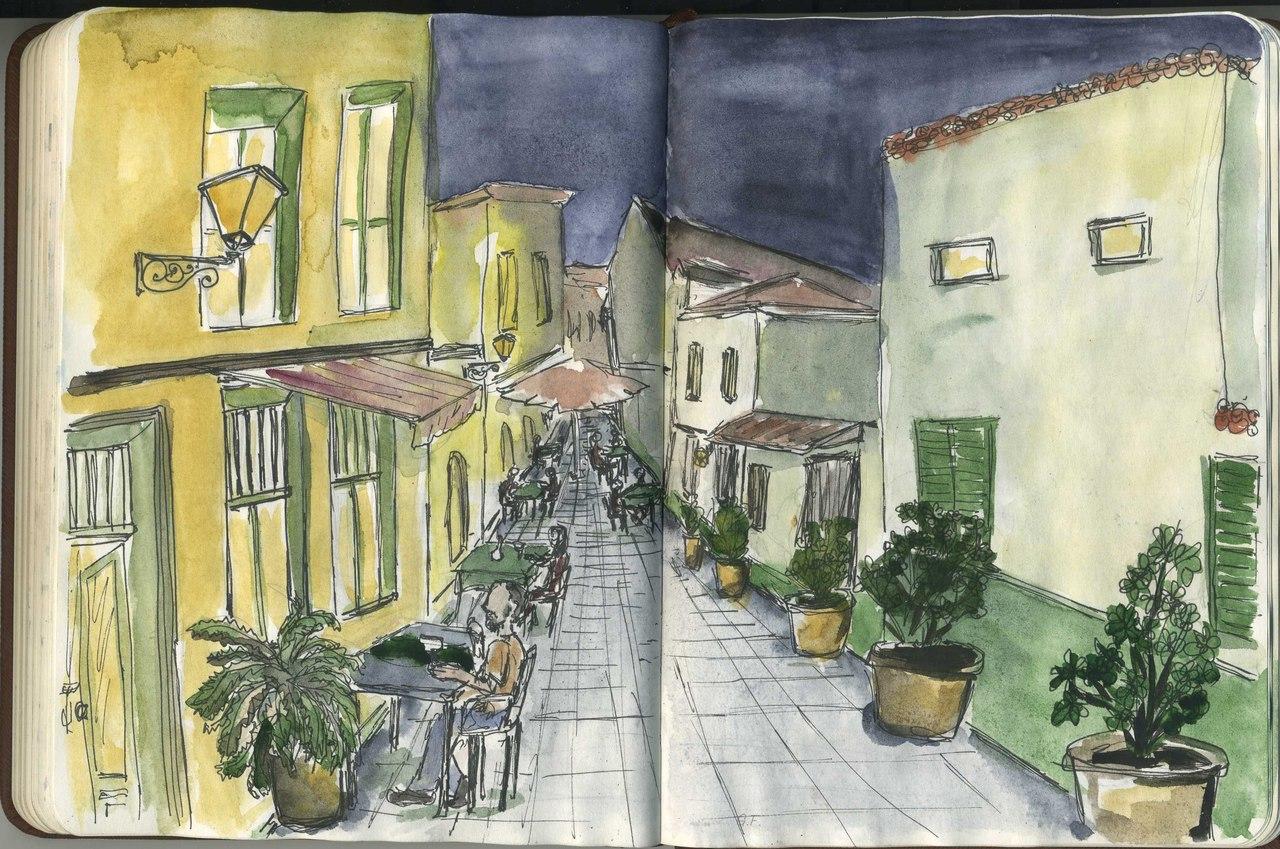 Тенерифе, Испания. Вечерняя улица.