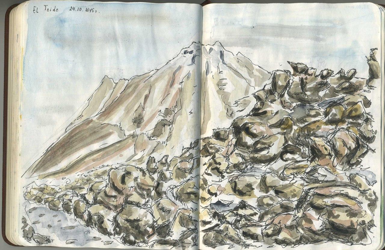 Тенерифе, Испания, пик вулкана Тейде, нарисован на высоте около 3000 метров над уровнем моря