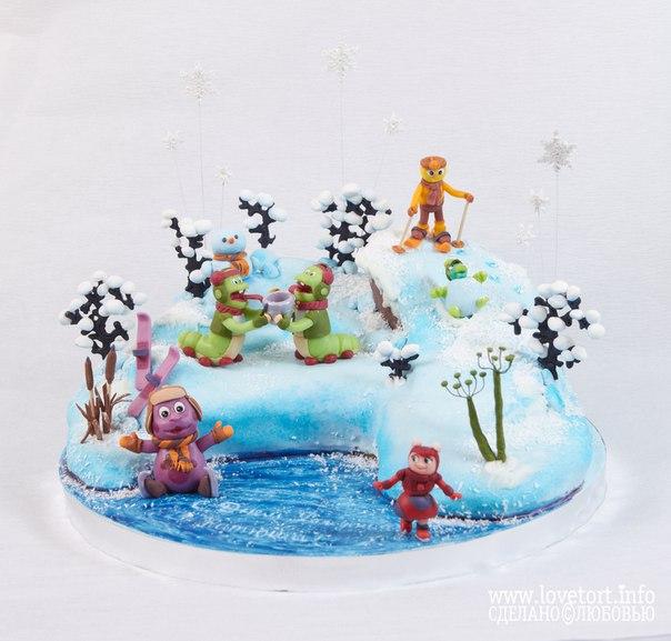 Торт зимние игры Лунтика и его друзей cake