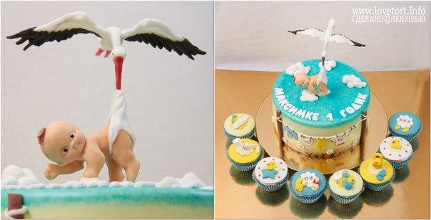 """Торт на годик """"Аист с младенцем"""" cake"""