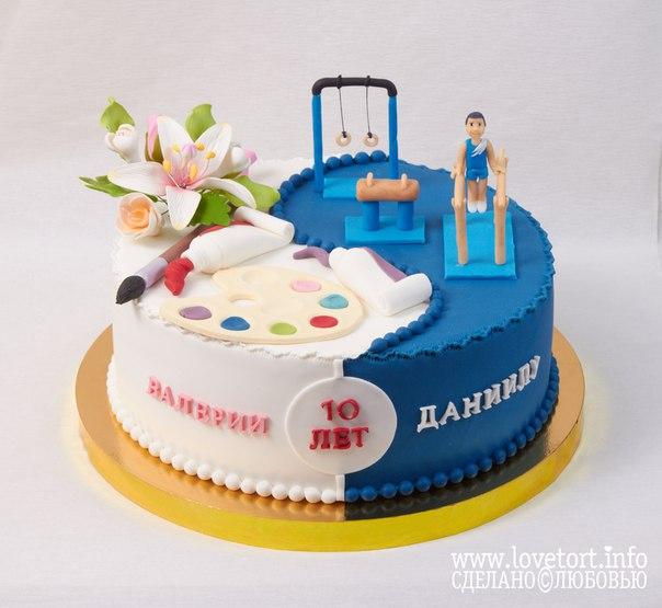 Торт на 10 лет юным талантам Валерии и Даниилу. Искусство и спорт. cake